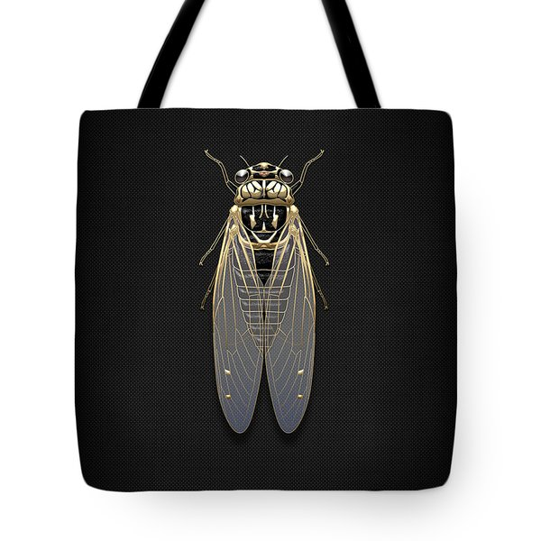 Black Cicada With Gold Accents On Black Canvas Tote Bag