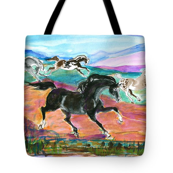 Black Pony Tote Bag by Mary Armstrong