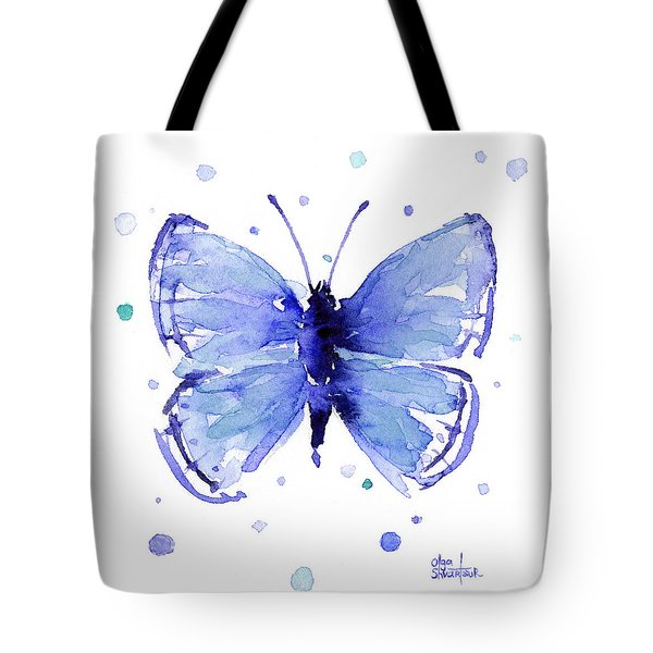 Blue Abstract Butterfly Tote Bag
