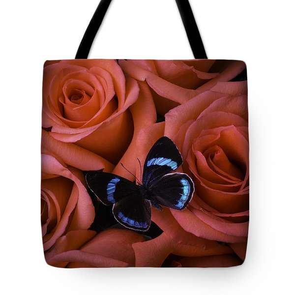 Blue Black Butterfly Tote Bag