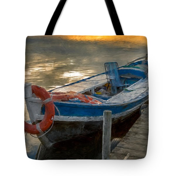 Tote Bag featuring the photograph Blue Boat by Juan Carlos Ferro Duque