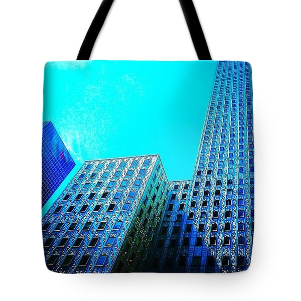 #blue #buildings And #bluesky On A Tote Bag