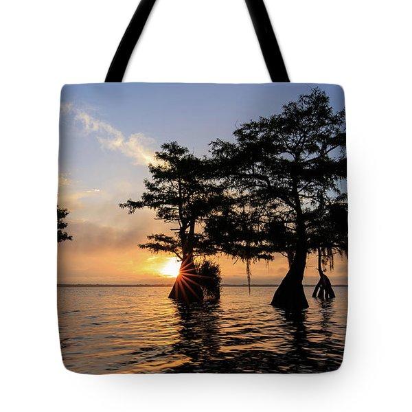 Blue Cypress Lake Morning Tote Bag