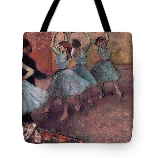 Blue Dancers Tote Bag by Edgar Degas
