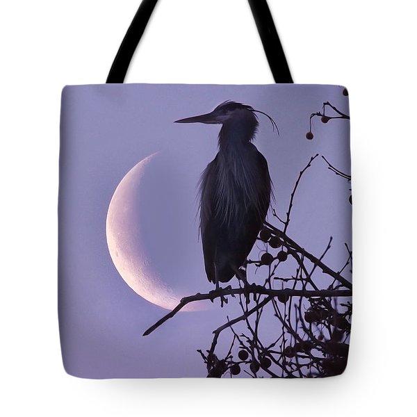 Blue Heron Moon Tote Bag