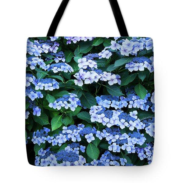 Tote Bag featuring the photograph Miksang 12 Blue Hydrangea by Theresa Tahara