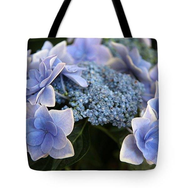 Tote Bag featuring the photograph Blue Hydrangea by Yumi Johnson