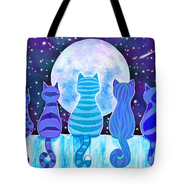 Blue Moon Cats Tote Bag