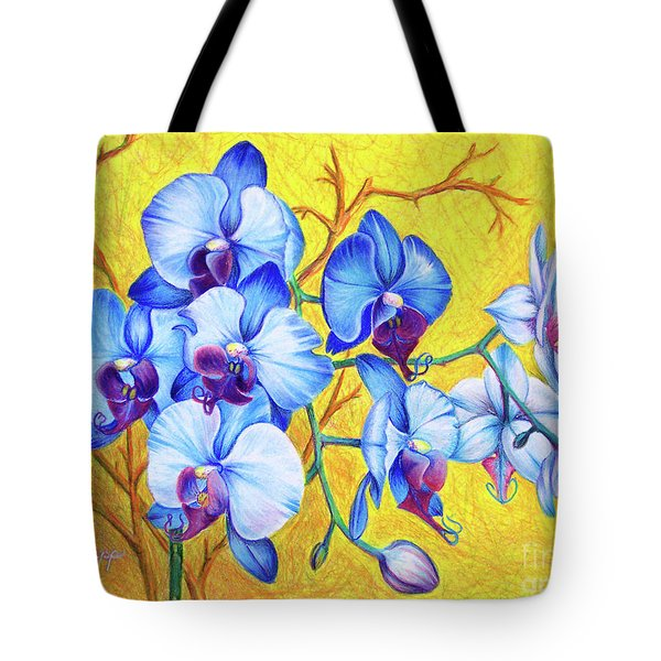 Tote Bag featuring the painting Blue Orchids #2 by Nancy Cupp