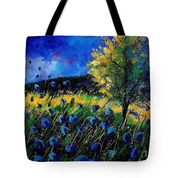 Blue Poppies  Tote Bag by Pol Ledent