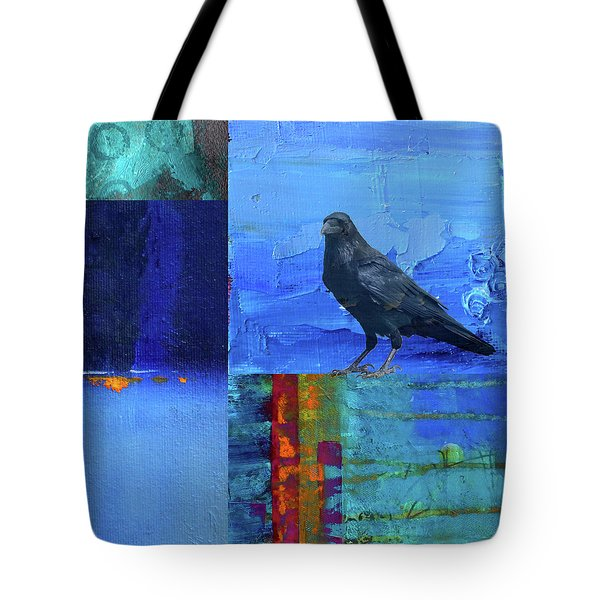 Tote Bag featuring the digital art Blue Raven by Nancy Merkle