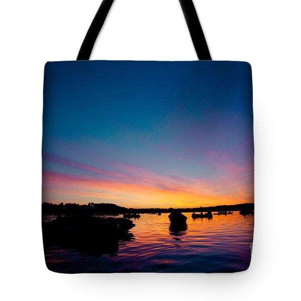 Boats And Sunrise Above Lake Water Summer Time Latvia Ezera Skanas Tote Bag
