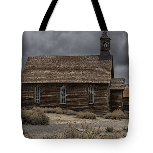 Tote Bag featuring the photograph Stormy Day In Bodie State Historic Park by Sandra Bronstein