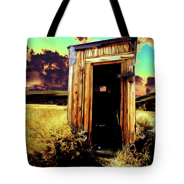 Tote Bag featuring the photograph Bodie Outhouse by Jim and Emily Bush