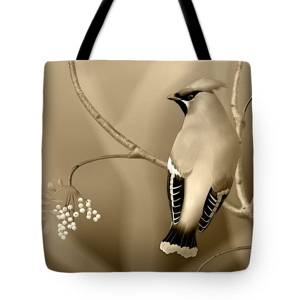 Tote Bag featuring the digital art Bohemian Waxwing In Sepia by John Wills
