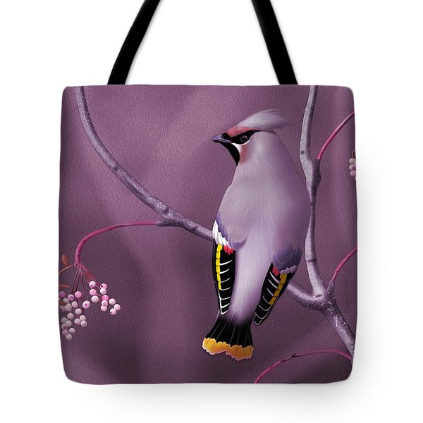 Tote Bag featuring the digital art Bohemian Waxwing by John Wills