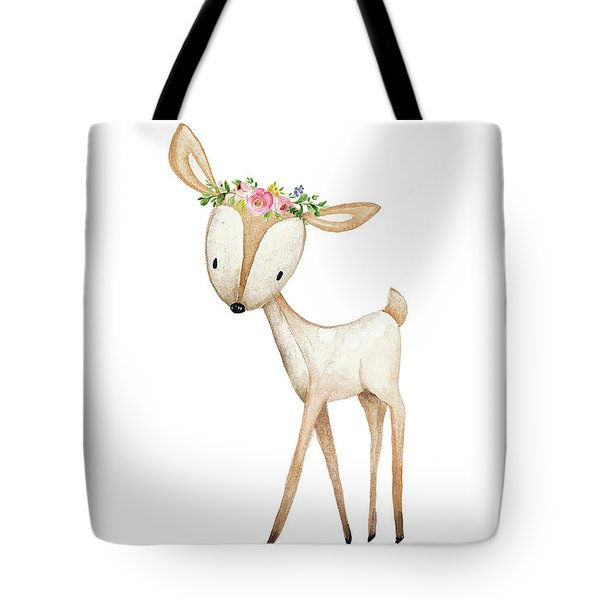 Boho Woodland Baby Nursery Deer Floral Watercolor Tote Bag