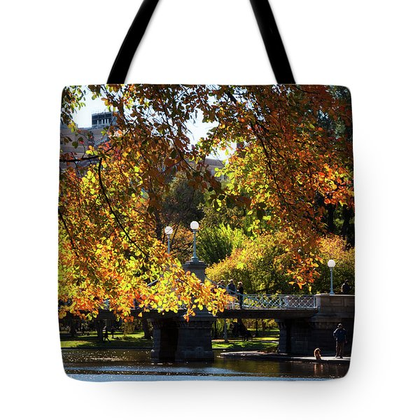 Tote Bag featuring the photograph Boston Public Garden - Lagoon Bridge by Joann Vitali