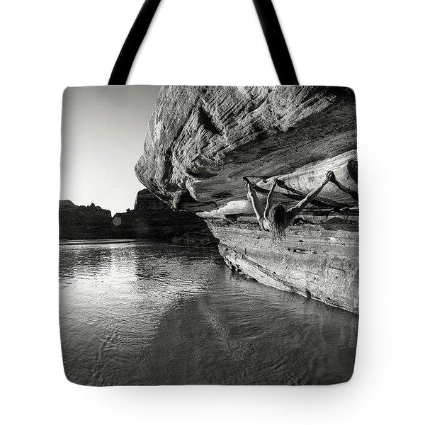 Bouldering Above River Tote Bag