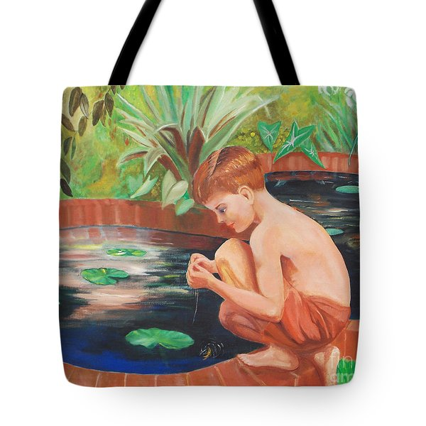 Boy Fishing Tote Bag
