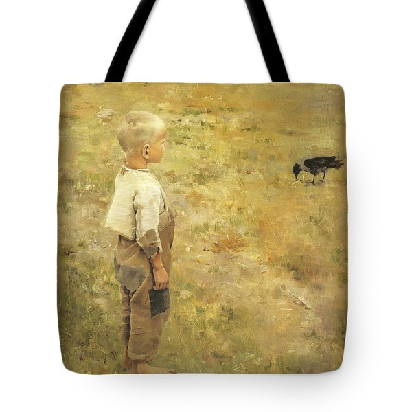 Boy With A Crow Tote Bag by Akseli Gallen-Kallela