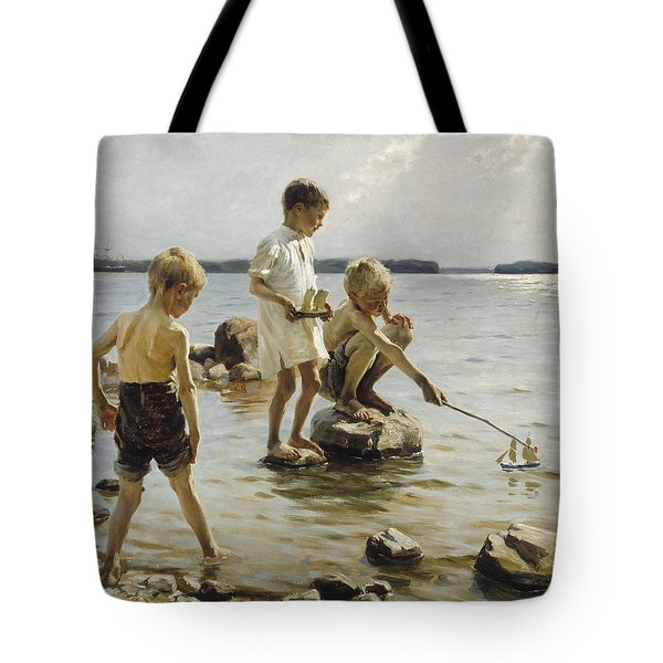Boys Playing On The Shore Tote Bag