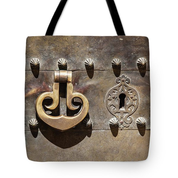 Tote Bag featuring the photograph Brass Door Knocker by David Letts