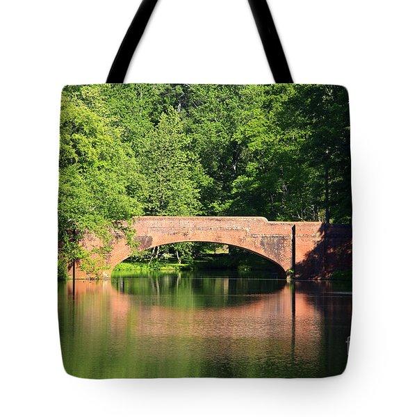 Bridge Reflection In The Spring Tote Bag
