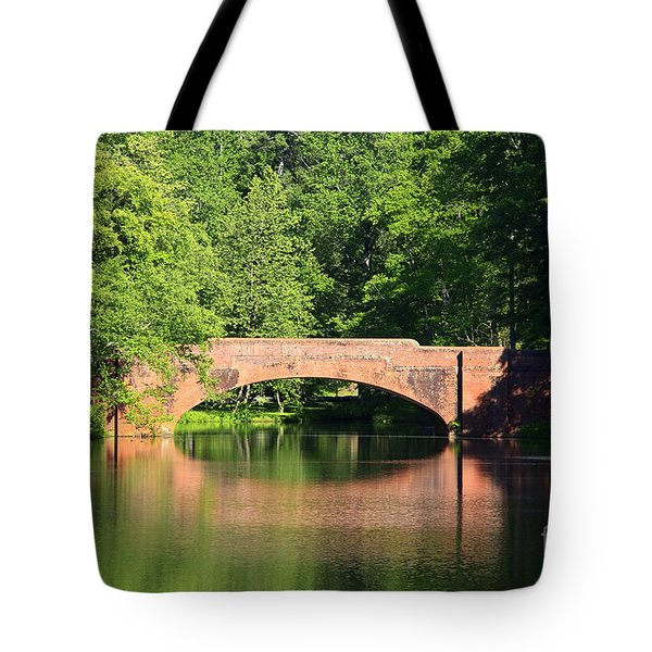 Bridge Reflection In The Spring Tote Bag