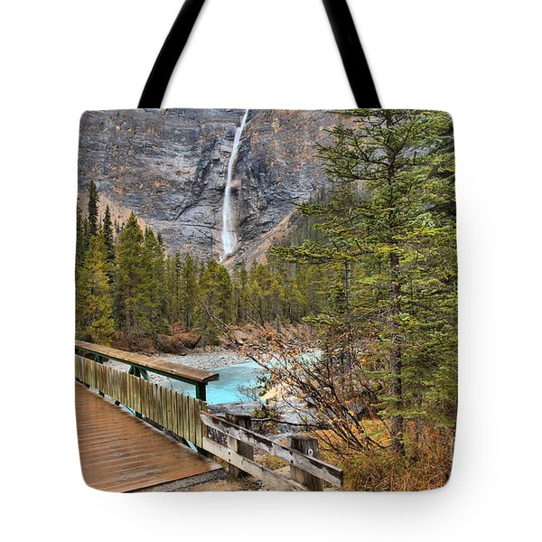 Tote Bag featuring the photograph Wooden Bridge To Takakkaw Falls by Adam Jewell
