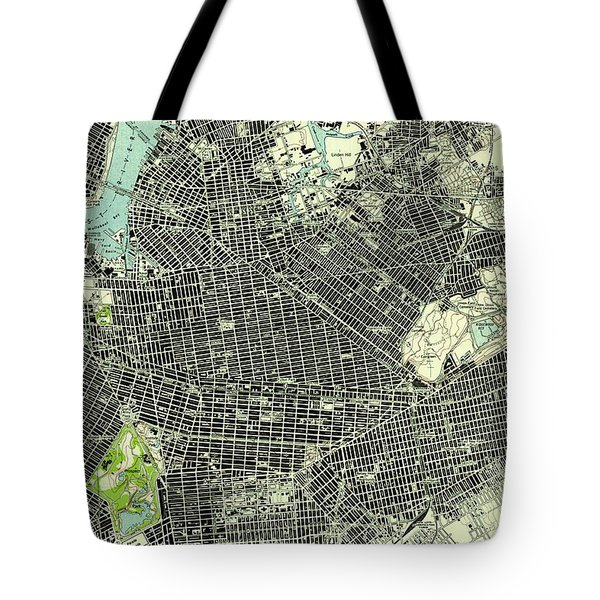 Brooklyn New York 1947 Old Map Tote Bag