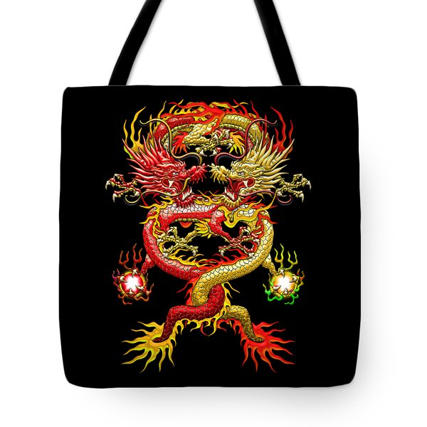 Brotherhood Of The Snake - The Red And The Yellow Dragons Tote Bag