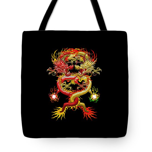 Brotherhood Of The Snake - The Red And The Yellow Dragons Tote Bag by Serge Averbukh