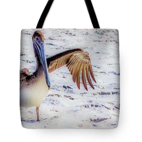Brown Pelican Wave Tote Bag
