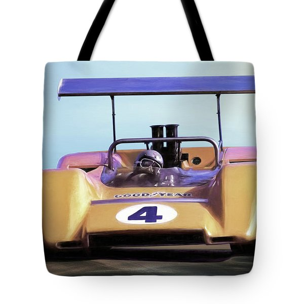 Tote Bag featuring the digital art Bruce Mclaren M8b by Peter Chilelli