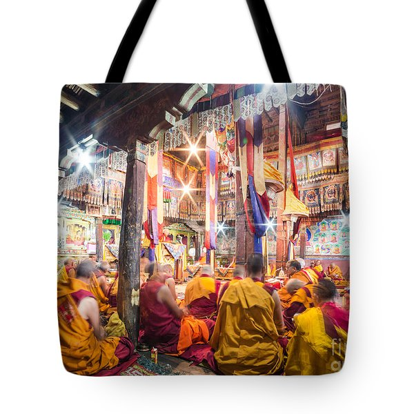 Buddhist Monks Praying In Thiksay Monastery Tote Bag
