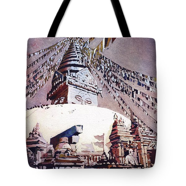 Tote Bag featuring the painting Buddhist Stupa- Nepal by Ryan Fox