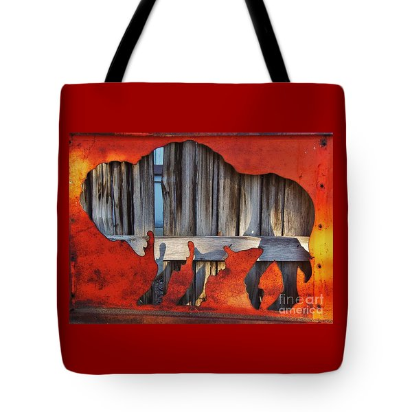 Tote Bag featuring the photograph Wooden Buffalo 1 by Larry Campbell