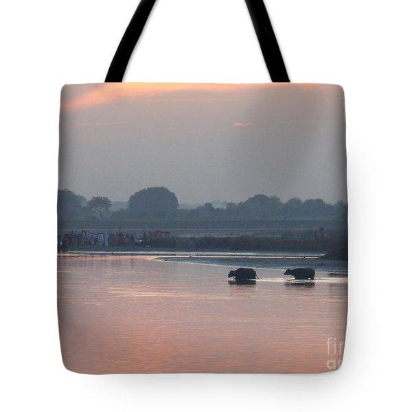 Buffalos Crossing The Yamuna River Tote Bag