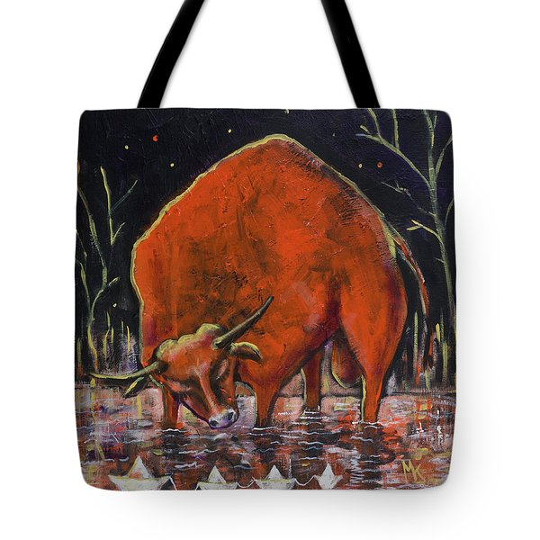 Bull And Paper Boats Tote Bag