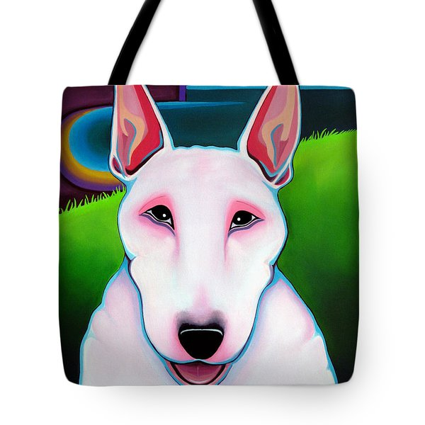 Tote Bag featuring the painting Bull Terrier by Leanne WILKES