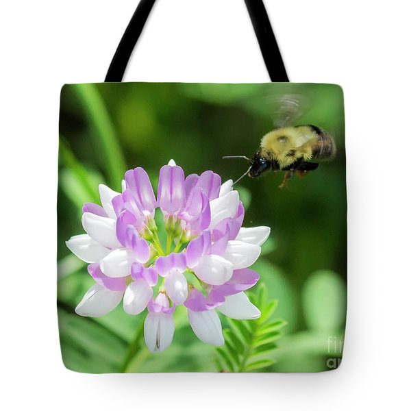 Bumble Bee Pollinating A Flower Tote Bag