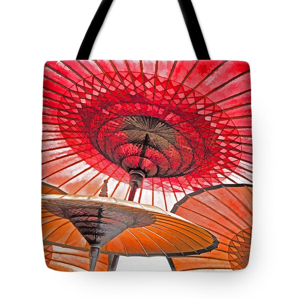 Tote Bag featuring the photograph Burmese Parasols by Dennis Cox WorldViews