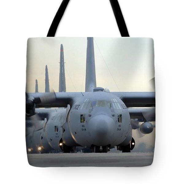 C-130 Hercules Aircraft Taxi Tote Bag by Stocktrek Images