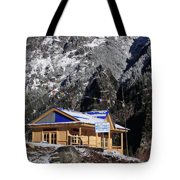 Tote Bag featuring the photograph Meeting Point Mountain Restaurant by Aidan Moran