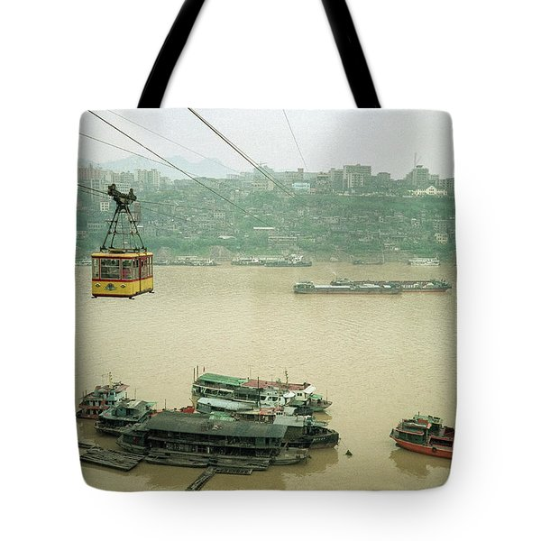 Cable Car Over Yangzi River In Chongqing China Tote Bag