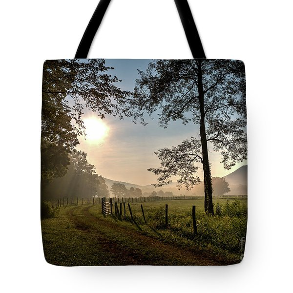 Tote Bag featuring the photograph Cades Cove Sunrise by Douglas Stucky