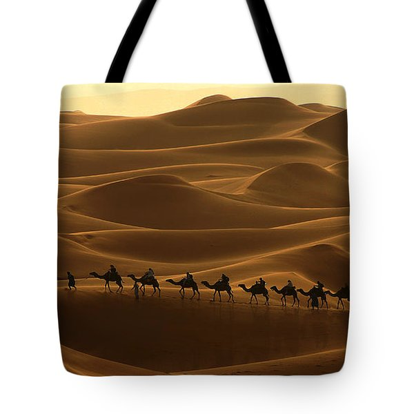 Camel Caravan In The Erg Chebbi Southern Morocco Tote Bag by Ralph A  Ledergerber-Photography