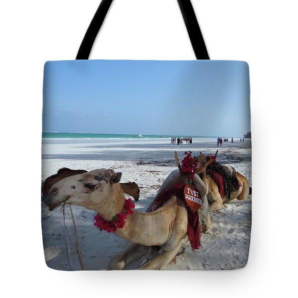 Camel On Beach Kenya Wedding Tote Bag