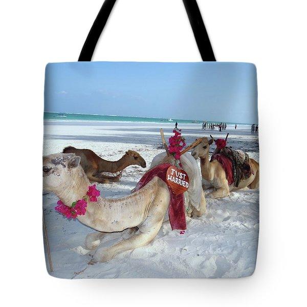 Camel On Beach Kenya Wedding4 Tote Bag